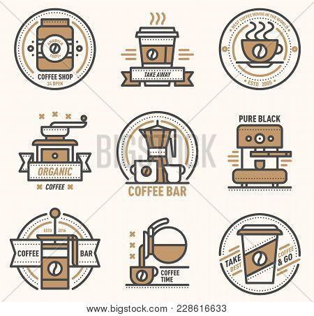 Coffee Vector Logo Badge Monogram Design Cafe Sign Coffeeshop Monogram And Restaurant Symbol Retro F