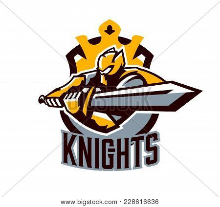 A Colorful Logo, A Sticker, An Emblem, A Knight Is Attacking With A Sword. Gold Armor Of The Knight,
