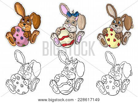 Vector Illustration Of Little Bunnies Boys And Girls Are Holding In The Paws Easter Egg