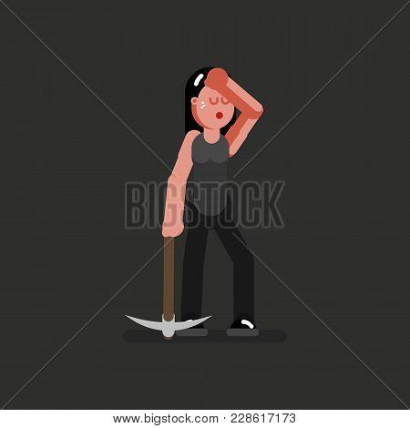 Miner Girl Having A Rest. Vector Illustration, Eps 10