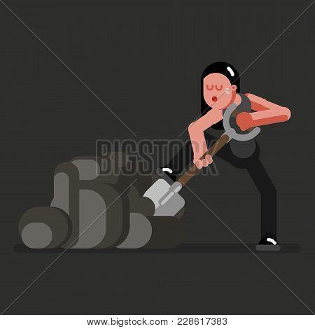 Miner Girl With Shovel. Vector Illustration, Eps 10