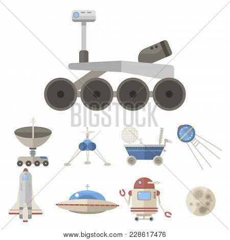 Stylish Space Ship Icons. Constellation Astrology Radar Cosmos Sign. Universe Technology Meteor Scie