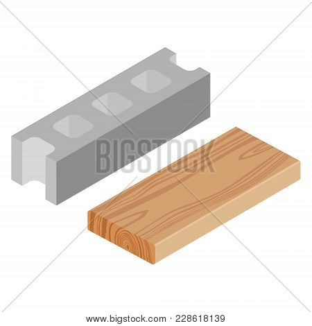 Vector Illustration Realistic Isometric Rasped Wooden Timber Plank For Building Construction Or Flor