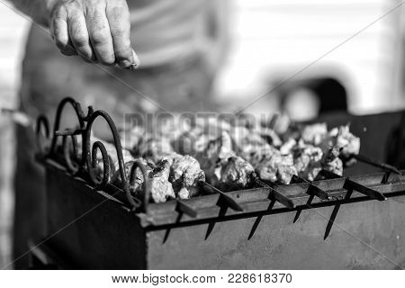 The Kebabs Are Cooked Outdoors In Summer Black And White Poster
