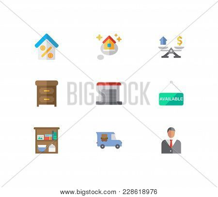 Real Estate Icons Set. Agent And Real Estate Icons With Furniture, House Available And Garage. Set O