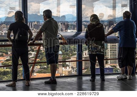 Curitiba, Parana, Brazil, January 03, 2018. Tourists Observe The 360 Degree View Of The 109 Meter Hi