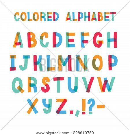 Latin Font Or Decorative English Alphabet Made Of Colorful Adhesive Tape. Set Of Bright Colored Styl