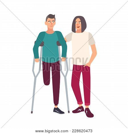 One-legged Man With Crutches Standing Together With His Friend. Smiling Male Cartoon Character With