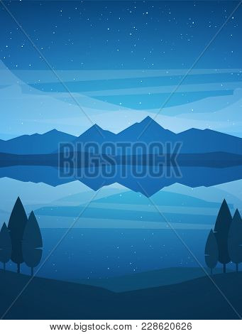 Vector Illustration: Vertical Night Mountains Lake Landscape With Stars, Reflection And Trees On For