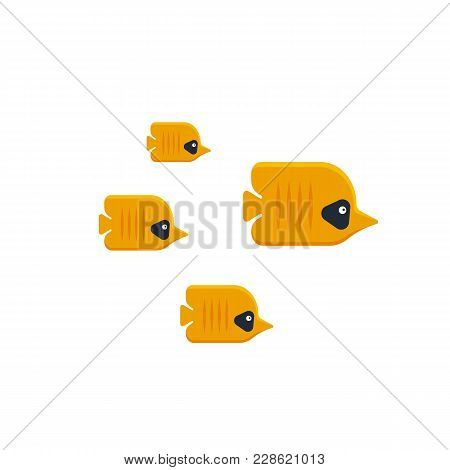The Flock Of Tropical Butterfly Fish Isolated On White Background.