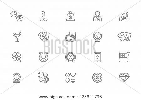 Set Of Vector Gambling And Casino Line Icons. Dice, Horseshoe, Clover, Roulette, Jackpot Slot Machin