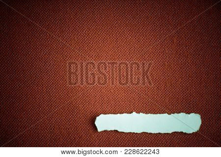 Piece Scrap Of White Paper Blank Copy Space On Brown Fabric Textile Material Background