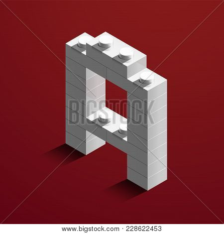 Realistic White 3D Isometric Letter A Of The Alphabet From Constructor Bricks. White 3D Isometric Pl