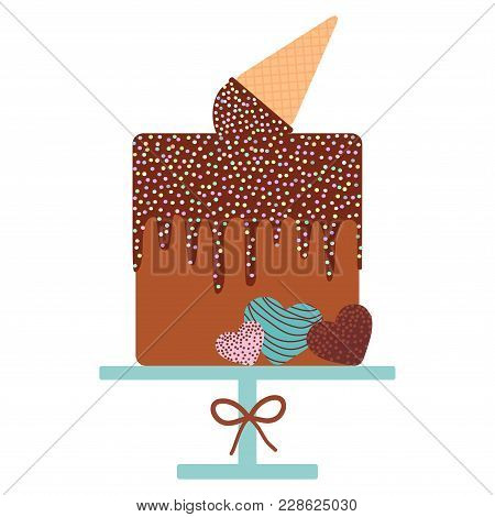 Card Design - Birthday, Valentine's Day, Wedding, Engagement. Sweet Cake, Ice Cream Waffle Cone, Cho