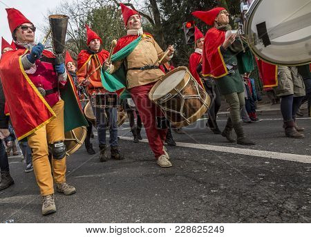 Paris, France - February 11,2018: A Band Of Disguised Street Musicians Performs During The Carnaval