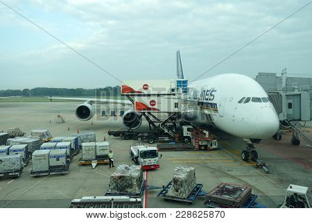 Singapore- Jan 20, 2018: Singapore Airlines Airbus A380-800 At Singapore Changi Airport. The Airbus