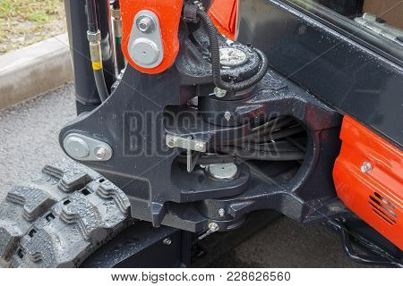 Detail Of Hydraulic Piston Excavator Arm With Articulation Joint Swivel Frame Modern Tractor