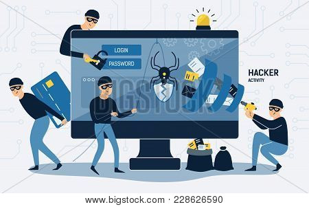 Criminals, Burglars Or Crackers Wearing Black Hats, Masks And Clothes Stealing Personal Information