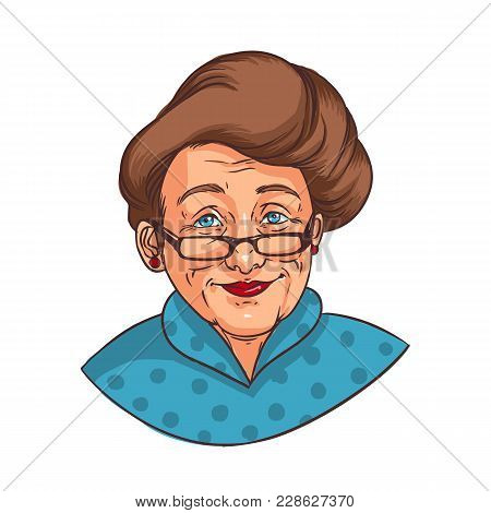 Realistic Portrait Of Smiling Elderly Woman With Elegant Hairstyle Or Happy Old Lady Dressed In Blue