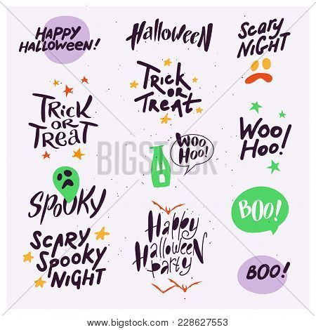 Vector Collection Of Halloween Flat Celebration Quotes, Lettering, Phrases And Traditional Halloween