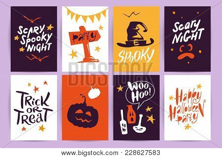 Vector Collection Of Halloween Flat Celebration Cards, Flayers With Funny Animals, Traditional Hallo