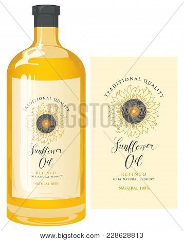 Vector Label For Refined Sunflower Oil With Sunflower And Calligraphic Handwritten Inscription. Temp