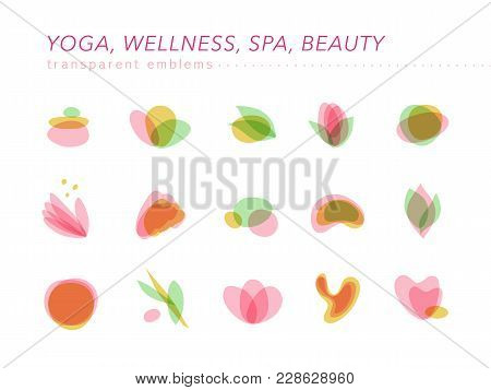 Vector Collection Of Transparent Beauty, Spa, And Yoga Symbols In Light Colors Isolated On White Bac