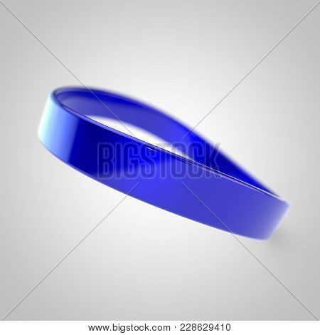 Blue Silicone Promo Bracelet For Hand Isolated On White Background