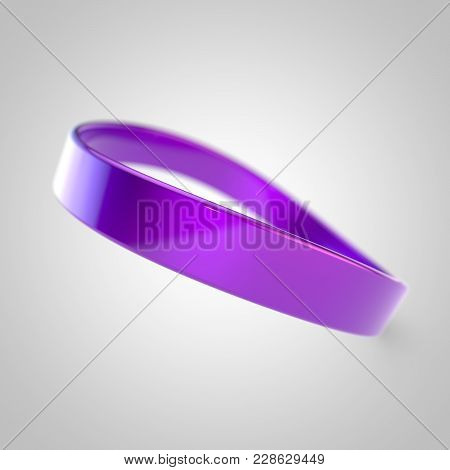 Violet Silicone Promo Bracelet For Hand Isolated On White Background