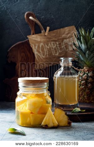 Fermented Mexican Pineapple Tepache. Homemade Raw Kombucha Tea With Pineapple. Healthy Natural Probi