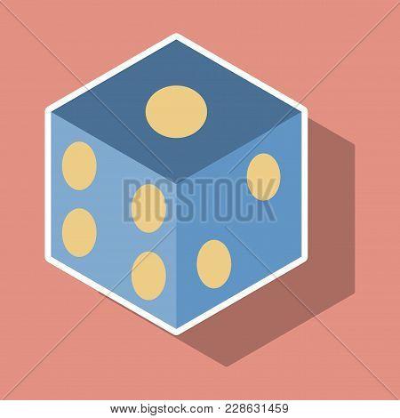 Dice Sticker Design Isolated. Dice Casino Gambling Template Concept. Casino Background.