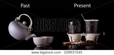 Two Different Ways Of Served Coffee - Old Way With Kettle And Ceramic Cups And Modern Way With Paper