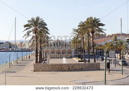 Tarragona,spain- December 23,2017:  Port View, Dock, Moll De Costa In Tarragona,spain.