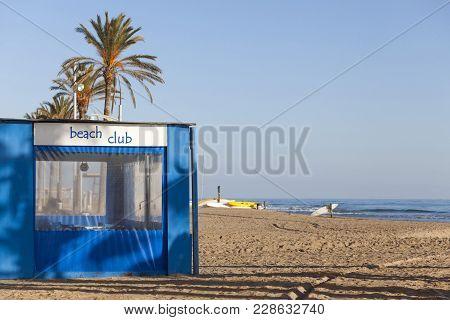 El Vendrell,spain- December 21,2017: Mediterranean Beach In Sant Salvador, Maritime Neighborhood Of