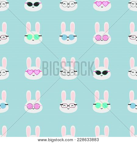 Glasses And Bunnies Kawaii Vector Seamless Pattern
