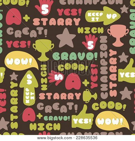 Cute Encouragement Phrases On Black Background Seamless Pattern