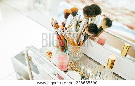 Make-up Brushes And Cosmetic On Dressing Table, Womens Beauty Artists Tools