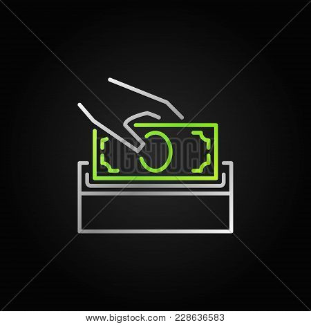Donate Money Vector Bright Icon. Silver Donation Box Sign In Thin Line Style On Dark Background