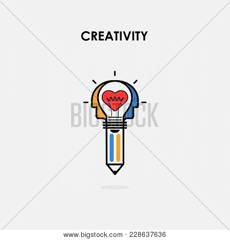 Creative Light Bulb And Pencil Icon,heart Icon And Human Heads Vector Design Banner Template.corpora