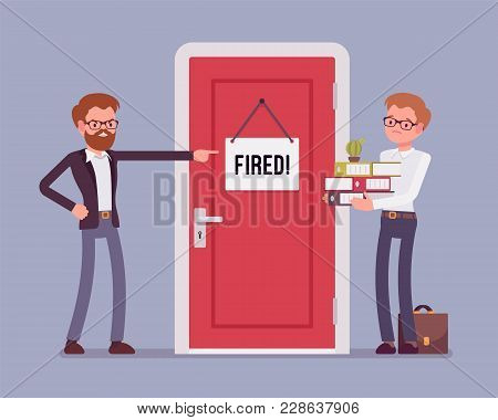 Fired Office Worker And Boss. Young Employee Dismissed From A Job By Angry Manager, Discharged For B