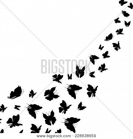 Silhouette Black Fly Flock Of Butterflies Whirlwind Insect Decoration Element Nature Style Symbol Of