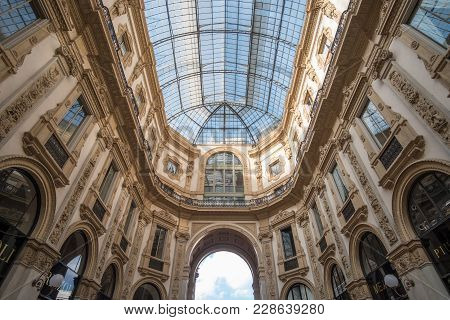 Milan, Italy - 16 September 2017: Interior Of Galleria Vittorio Emanuele Ii, One Of The World's Olde