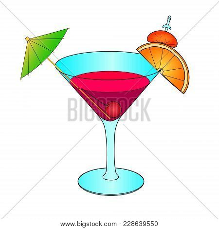 Bloody Mary Cocktail Hand Drawn. Vector Illustration Object On A White Background