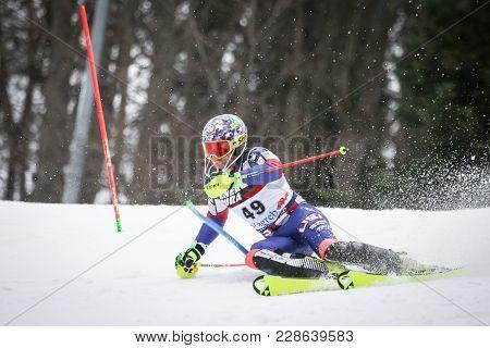 Zagreb, Croatia - January 4, 2018 : Ginnis Aj Of Usa Competes During The Audi Fis Alpine Ski World C
