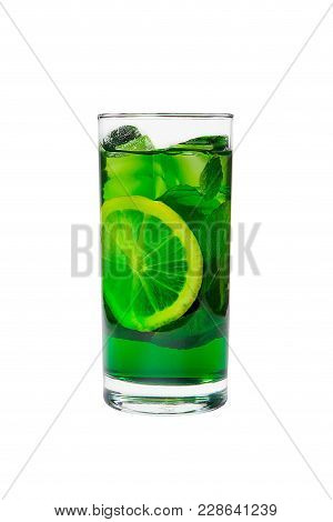 Summer Green Drink With Lemon, Lime And Mint, Ice On Isolated White Background. Direct Perspective,