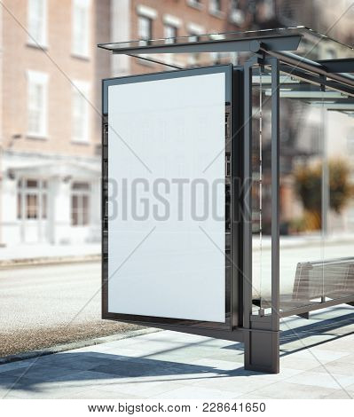 Bus Stop With Blank Ad Banner On The Street. 3d Rendering