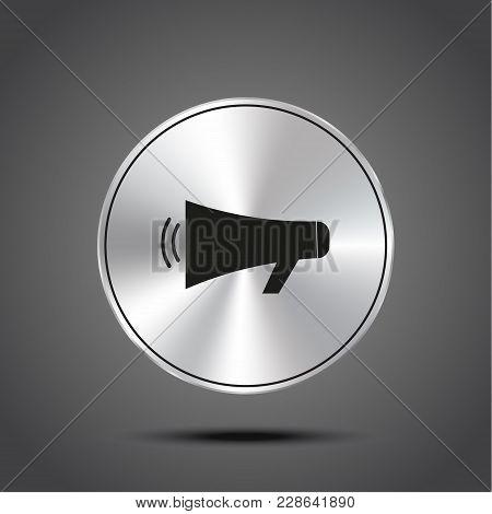 Vector Icon Loudspeaker Metallic Isolated On Dark Background Eps 10