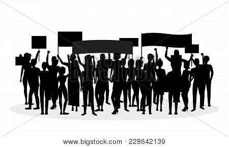Cartoon Silhouette Black Protesting Crowd Demonstration, Picket Or Conflict Action Culture Concept O