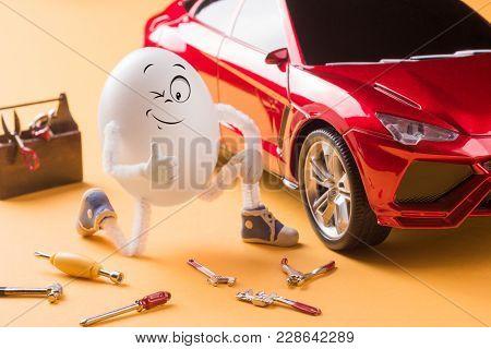 Funny Egg Mechanic Repair The Miniature Car.