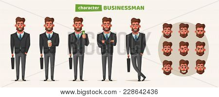 Successful, Happy Businessman In A Suit With Umbrella. Cartoon Vector Illustration. Funny Character.